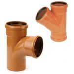 Ārējās kanalizācijas trejgabals PVC Wavin